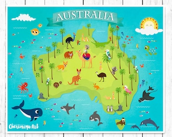 map of australia childrens world map australia animal map kids maps kids wall maps baby gift