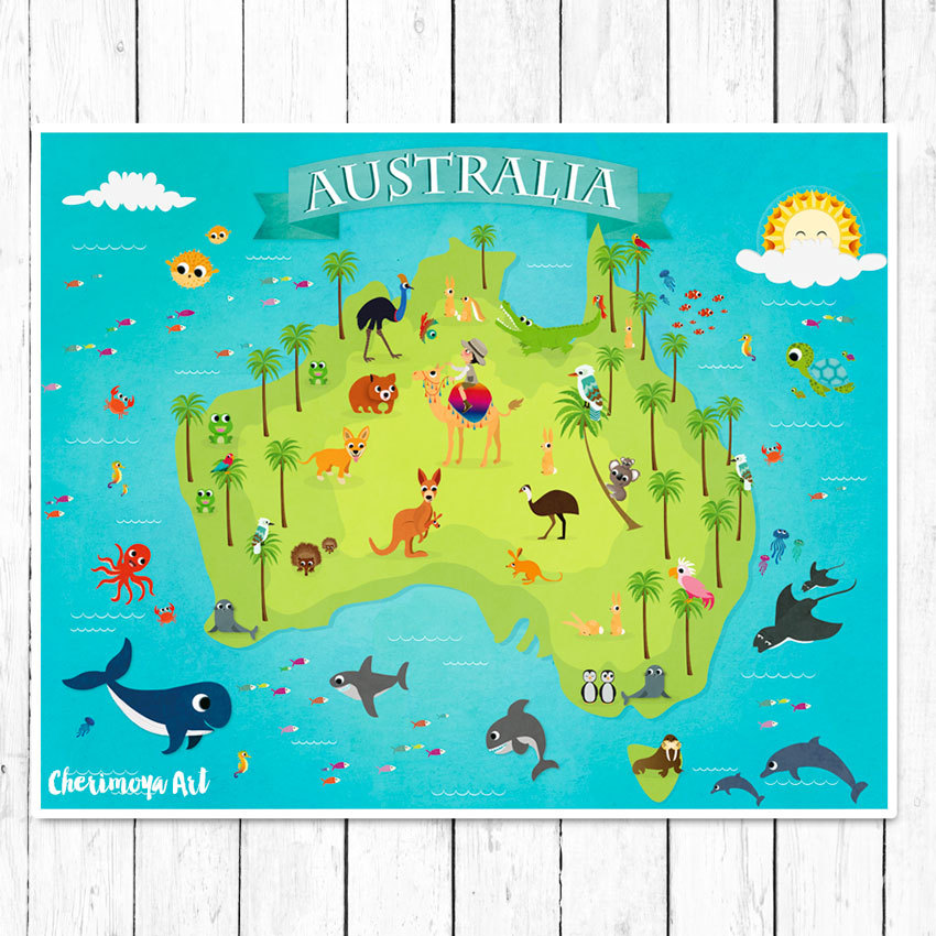 Map Of Australia Childrens World Map Australia Animal Map - Childrens wall map
