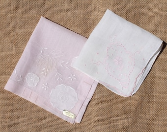 2 Vintage Pink and White Ladies Hankies Handkerchief, Floral Embroidery Embroidered