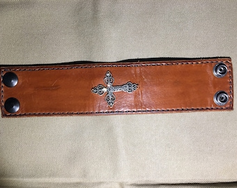 Leather cuff with cross