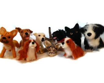 FIVE Custom needle felted dogs  - needle felted  puppy soft sculpture Dog memorial Art  -  small size - By Scottish Artist BenMcFuzzylugs