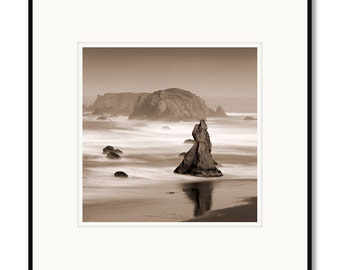 Bandon Beach, Oregon Coast, seatstacks, waves, photography, black and white, sepia warm tone, framed photo by Adrian Davis
