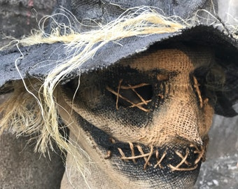 Ed scarecrow burlap mask with hat