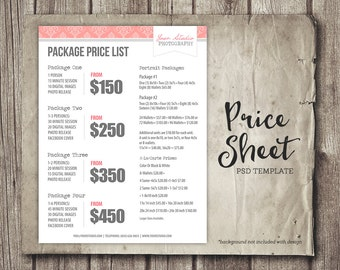Photography Pricing Template, Photography Marketing, Photography Price List - Template - PSD