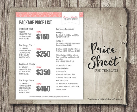 Photography Pricing Template Photography Marketing Photography