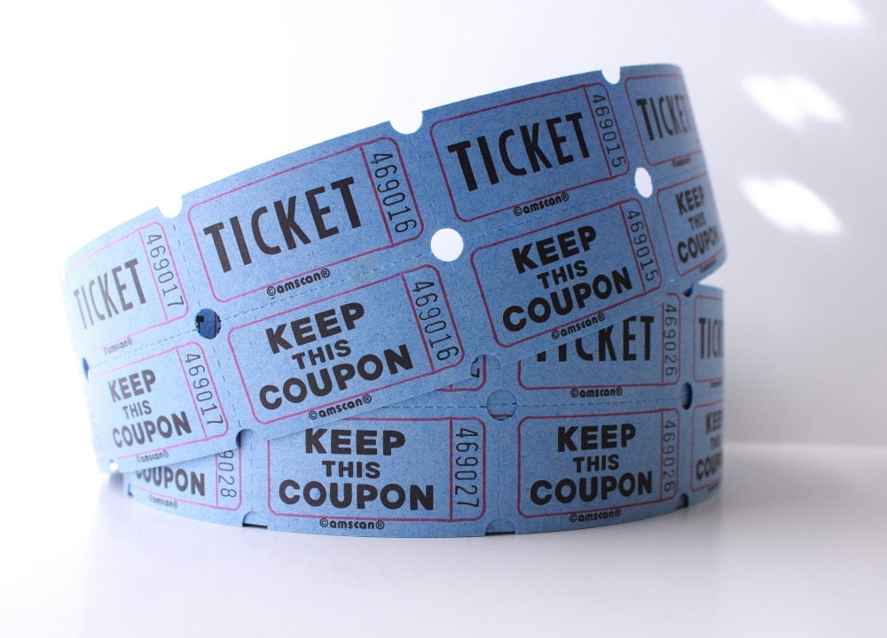 25 blue 2 part raffle tickets baby shower raffle blue