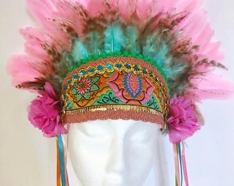 Festival Bohemian Emrboidered Pastel Turquoise & Pink Feather Headdress. Burning Man Costume Fashion Bridal Wedding Party Ibiza