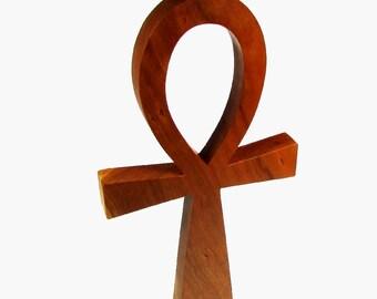 Ankh Cross / Large / Egyptian Symbol / Life / Cherry Wood