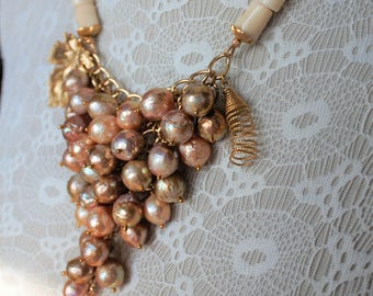 Set of necklaces and earrings of lavender pearls kasumi like with natural coral