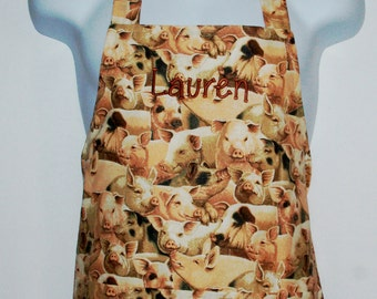 Pigs Ladies Cooking Apron, Funny Piggy, Custom  Gift, Monogrammed, Personalized With Name, No Shipping Fees,  Ships TODAY, AGFT 213