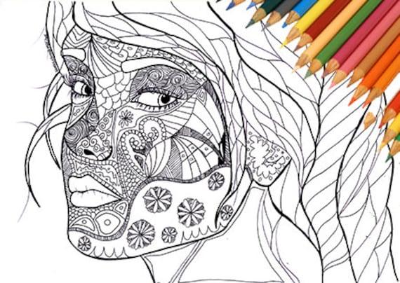 Cara de mujer para colorear cuidado facial para imprimir chica