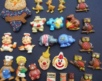 Vintage Refrigerator Magnets Animals Clowns Food Teddy Bears Lot Of 25