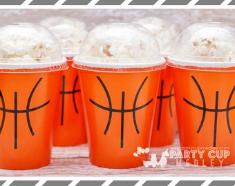 Basketball Party Favors-Basketball Party Cups-Popcorn Cups-Basketball BIrthday