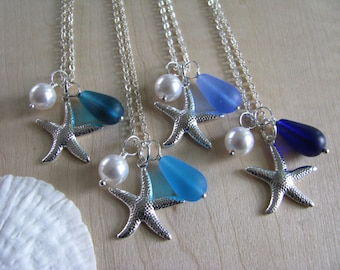 Wedding Jewelry Starfish Necklaces Bridesmaid Jewelry in Blue Beach Cobalt, Turquoise and Cornflower Blue, Teal Blue Ombre