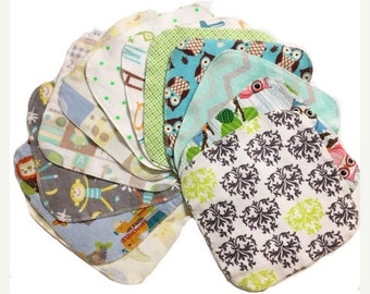 Memorial Day Sale Sale - Mystery Set - 8x8 Sweet Bobbins Cloth Wipes Starter Set of 12 wipes -  Double Layer Flannel  - 8x8