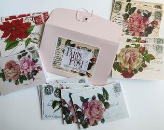 12 notecards: Paris Vintage Botanical Notecards, Paris Letters, French Stationery, Paris flea markets, Best selling cards