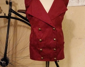 Mens Red Brocade Double Breasted Vest in Victorian Steampunk Sherlock Holmes Gentleman Style! Size M/L
