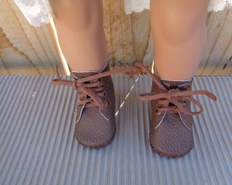 Brown faux leather-  Boots for  18 Inch dolls-Shown on my american girl doll