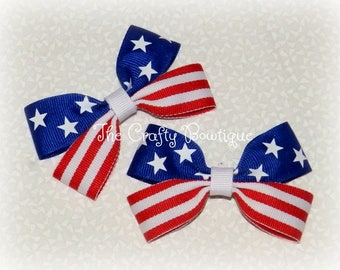 Flag ~ Patriotic ~ Stars & Stripes ~ 4th of July ~ Memorial Day ~ Independence Day ~ Red, White and Blue ~ Pigtails ~ Small ~ Baby ~ Toddler