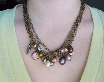 Freshwater Pearl Chain Necklace - Antique Brass Multi Color Pearls Earthy Chunky Boho Necklace - Statement Bib Necklace