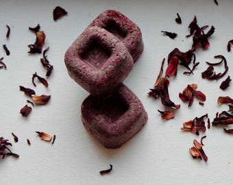 Pink solid shampoo and hibiscus without sulfates zero waste special travel natural