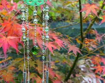 Dragon Suncatcher Jade light catcher Swarovski crystal Dragon Windchime Bell Woodland Ornament Garden Decor gift for her nature present OOAK