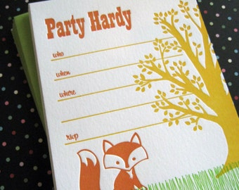 Fox Party Invitations  (set of 8) Letterpress
