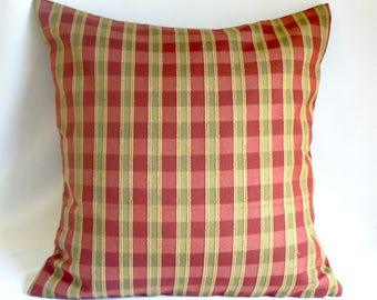 "Red and green plaid, 20"" pillow"