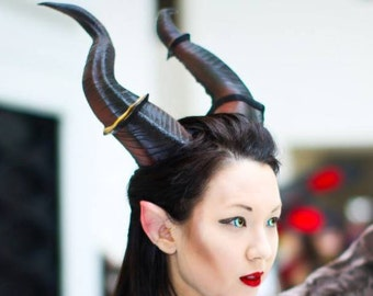 "Large Horns 12.5"" Maleficent Inspired Horns  3D Printed (Ultra Light Weight Plastic) Suitable for adults comic-con"