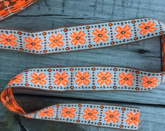Flourescent Orange and Brown Vintage Embroidered Trim - 1 Yard- NC- Vintage Sewing Supplies / Embroidered Trim / 1970s / Floral Trim