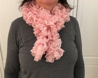 Millenial Pink Lace Ruffle Scarf