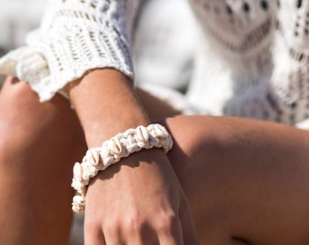 Soft cotton bracelet with shells