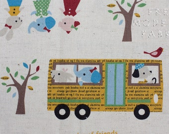 Fat Quarter of Trefle School Bus, Kokka Fabrics, Japanese Import, Cotton and Linen Blend Fabric