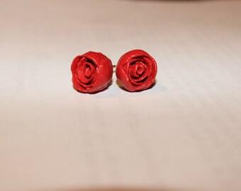 Rose Ear Stud - Terracotta Clay