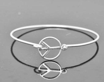 Peace Bangle, Sterling Silver Bangle, Peace Bracelet, Stackable Bangle, Charm Bangle, Bridesmaid Bangle, Bridesmaid jewelry, Bridal Bracelet