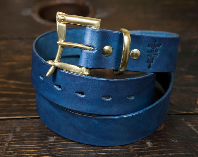 """1.25"""" Indigo Dyed Leather Quick Release Belt with Solid Brass or Nickel Plated Hardware - Made to Order"""