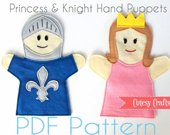 Felt Hand Puppets Pattern - Princess and Kinght