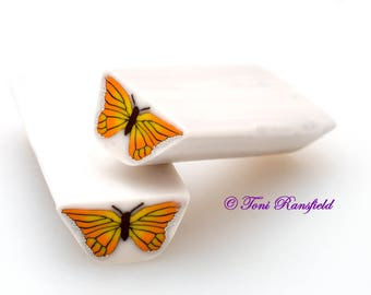 Orange and Yellow Butterfly Polymer Clay Cane, Raw polymer Clay Cane, Millefiori Polymer Clay