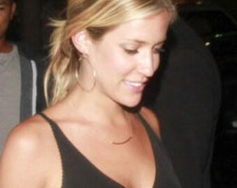 Celebrity Inspired, Gold Dangle Hoops, Kristin Cavallari Gold Hoops replica - 14k Gold Filled Earrings