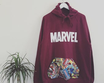 Marvel pullover | Custom marvel hoodie, Burgundy, maroon, red, Superheroes print, sewn, stiched, comic fabric, marvel fabric, Mens & Womens