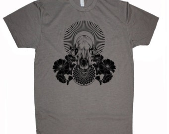 Men's RAVENOUS Wolf Skull Mandala Shirt Sacred Geometry Dotwork Tattoo Style T-Shirt