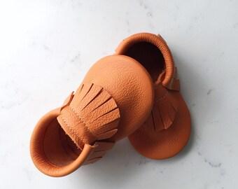 Pumpkin Orange Leather Baby Moccasins