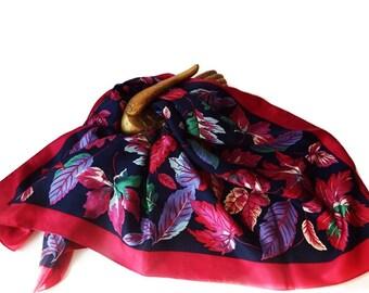Vintage  Hiroko Kapp Designer Floral Silk Scarf Square Vintage Burgundy Red Green