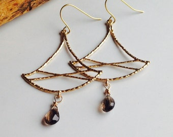 Chandelier Earrings, Gold Plated Earrings, Asian Inspired Earrings, Smokey Quartz, Etsy, Etsy Jewelry