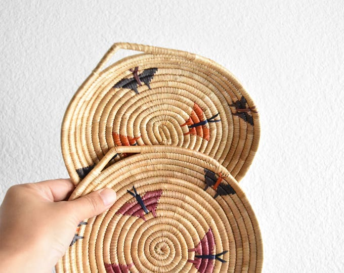 pair of woven straw butterfly wall hanging baskets / set of 2