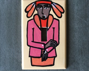 HAT CONTESTANT Light Switch Plate Hand Painted Wall Art Decor Home Cover Gift