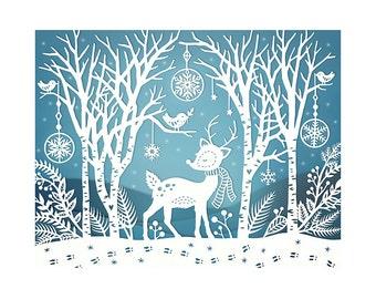 8x10 Print - Winter Woods - Original Papercut Illustration - Fine Art Print