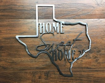 Texas State Outline Home Sweet Home Metal Wall Art Home Decor