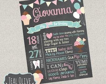 Ice Cream Chalkboard Birthday Sign - First Birthday ChalkBoard Poster - Ice Cream Party, sweet treats - Birthday Sign - DIGITAL FILE