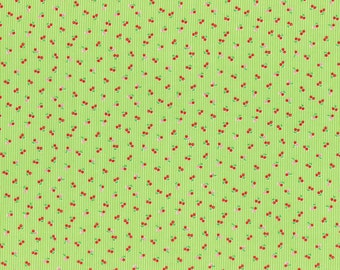 1 yard Minny Muu Lime green with red cherries Fall 2016 - Lecien Japan - quilt cotton fabric
